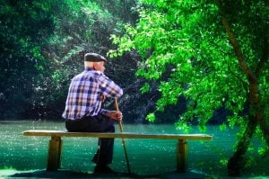 senior man elderly contemplation thinking mindfullness meditation
